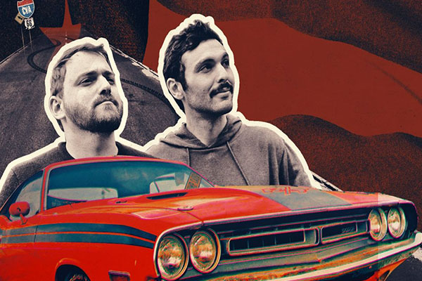 Two men with a car in front of them